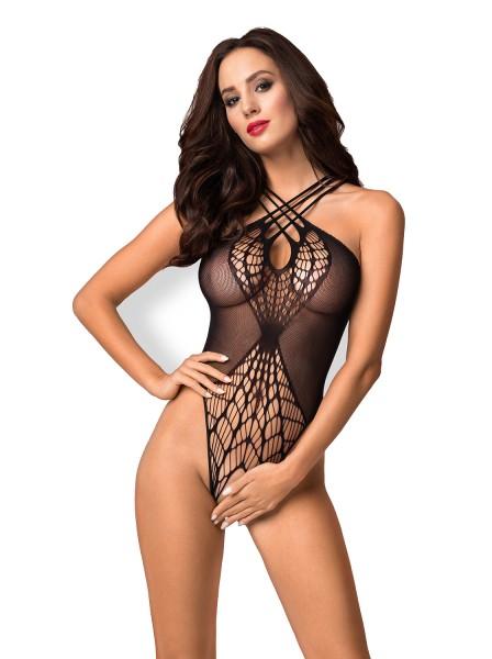 Strick Damen Dessous Body Teddy in schwarz mit Kreuzträgern und Riemchen erotisch elastisch Reizwäsc