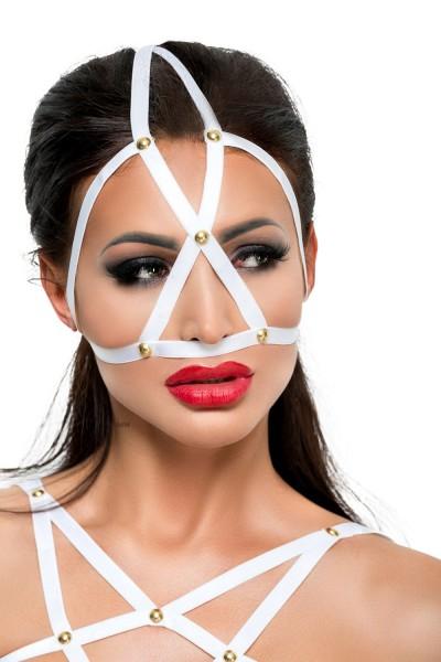 Weiße Kopfmaske Kostüm Verkleidung Fetisch Maske BDSM Gummi dehnbar OneSize