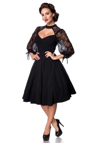 Schwarzes knielanges Swing Kleid im High Waist Schnitt mit Spitze und Herz-Ausschnitt Vollglocke und