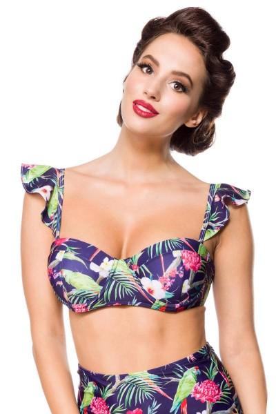Elastischer Damen Bikinioberteil Träger Neckholder Top und Blätter Blüten Papagei Muster blau bunt P