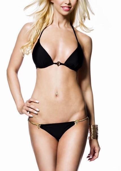 Schwarzer Damen Triangel Bikini mit Neckholder Bindung und goldenen Ketten am Höschen