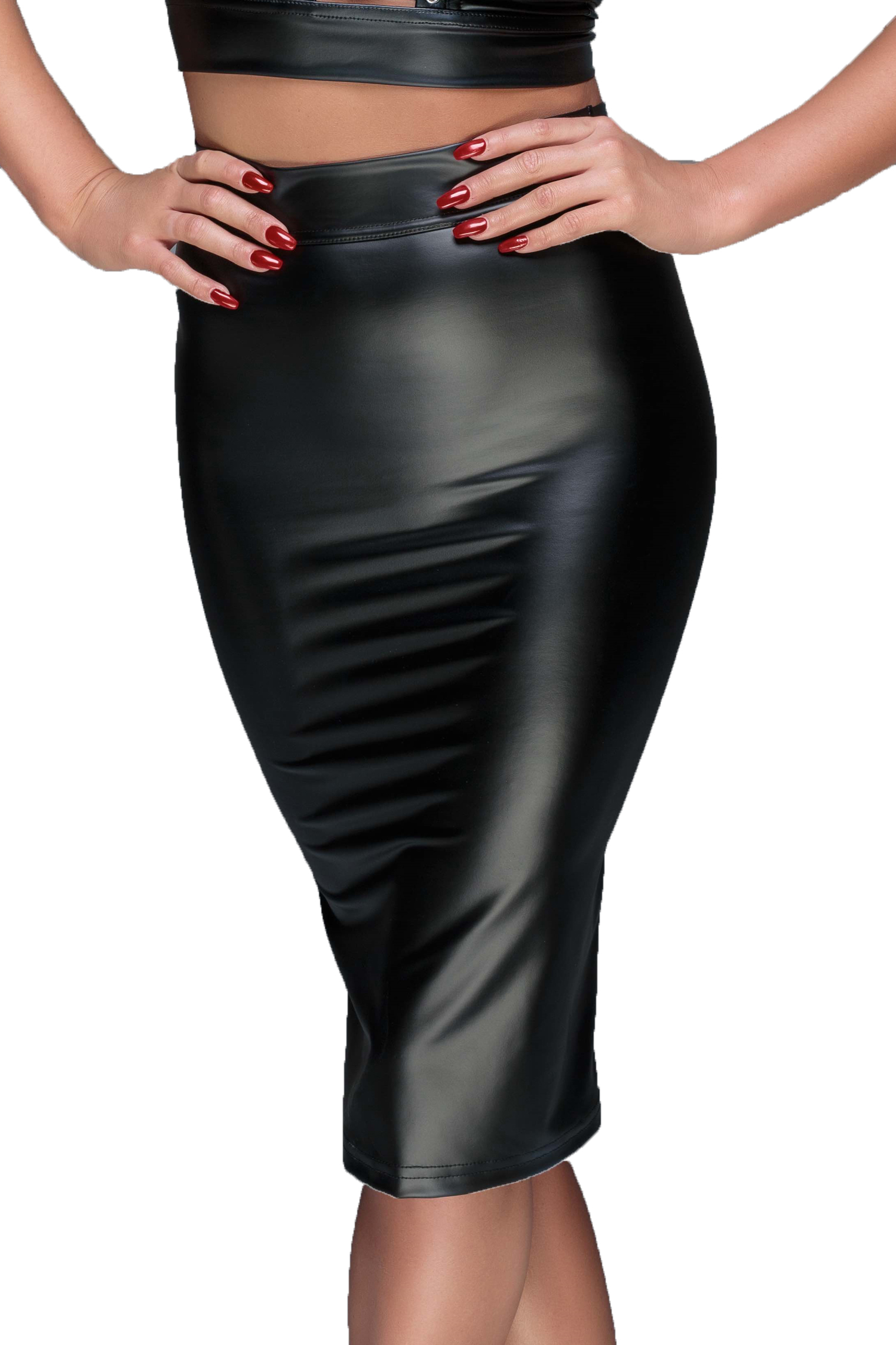 size 40 176e8 e673b Schwarzer Damen wetlook fetisch Rock mit Schnürung und Reißverschluss  knielang