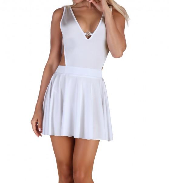 Erotisches Chemise Negligee in weiß mit String Tanga Dessous Kleid Nachtkleid mit Verzierung