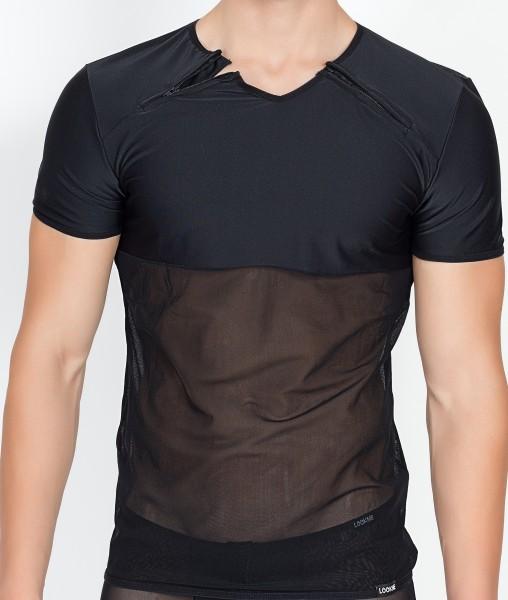 Schwarzes Herren Shirt teiltransparent aus Netz Material und Tüll Männer Reißverschluss Shirt