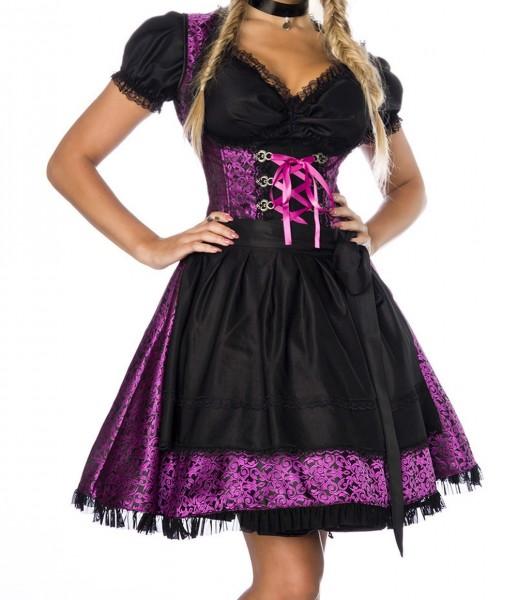 Dirndl Kleid Kostüm mit Bluse und Schürze aus Jacquard Stoff und Spitze Oktoberfest Dirndl lila/schw