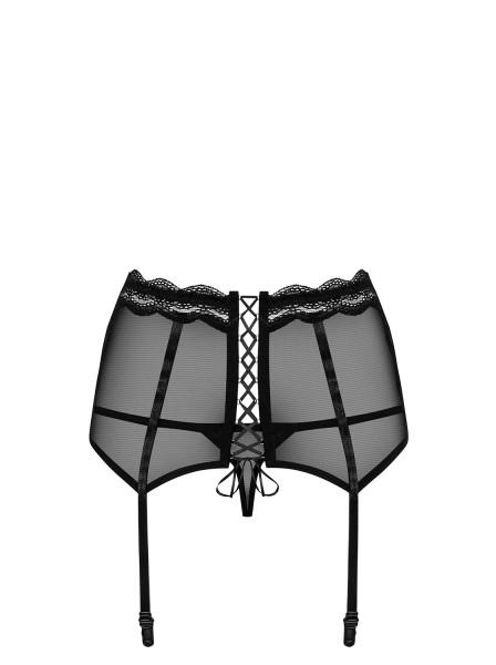 Damen Dessous Reizwäsche Strapsgürtel Straps Hüftgürtel in schwarz transparent mit Strapsbändern Str