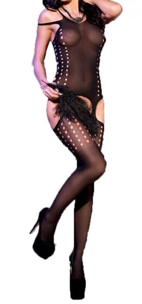 Damen Bodystocking in schwarz transparent aus Corsage und Strapsstrümpfen elastisch One Size S/M