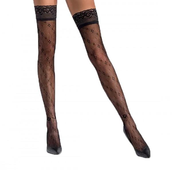 Halterlose Damen Dessous Strümpfe Stockings schwarz transparent mit Muster und Spitze selbsttragend