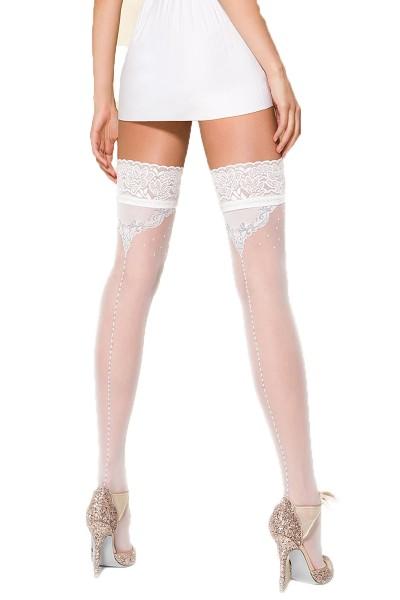 Halterlose Damen Dessous Strümpfe Stockings in weiß mit Spitze und Silikonstreifen gemustert 20 den