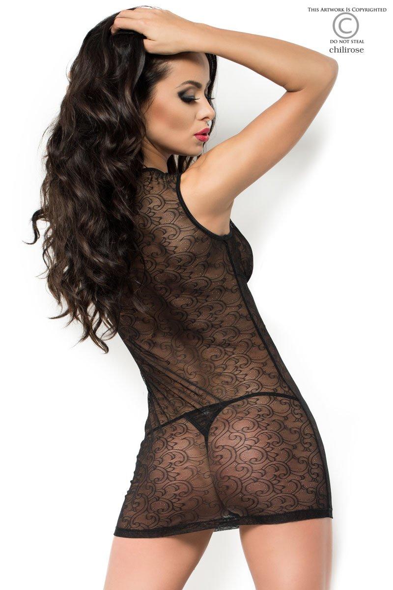 7143ab7c6b063 Spitzen Babydoll Body in schwarz transparent mit Verzierung inkl. String  Dessous Set Nachtkleid