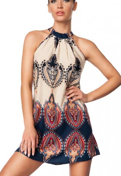 Blaues buntes gerafftes Kleid mit Neckholderbindung und Ethno Muster Sommerkleid bunt
