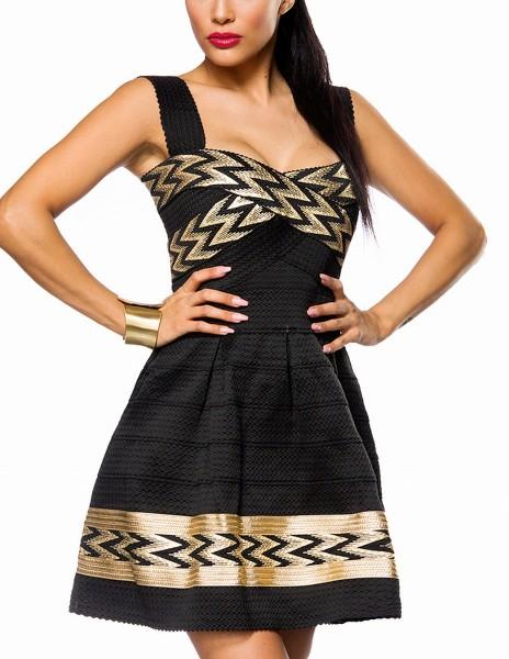 Schwarzes Kleid mit breiten Trägern angenähtem Glockenrock und goldenem Muster