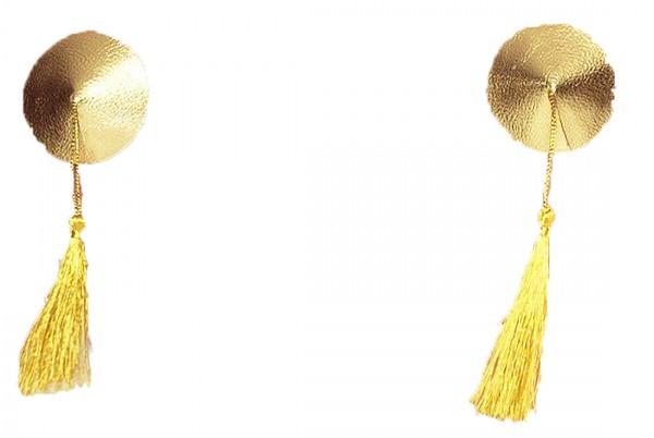 Goldene Nipples Cover mit Quasten Fransen Brustwarzenabdeckung OneSize