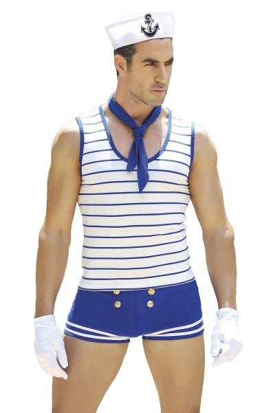 Männer sexy blau weißes Matrosen-Kostüm mit Shorts Mütze Hemd Handschuhe und Halstuch Roleplay Verkl