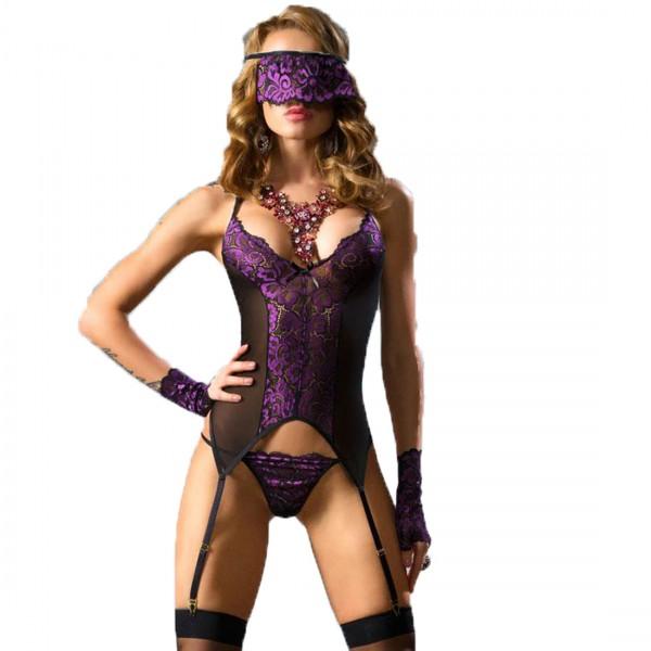 Damen Corsagen-Set in schwarz/violett aus Strapscorsage, Augenbinde, Handschuhen und String mit Spit