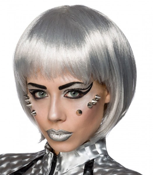 Silberne Damen Bob Frisur Perücke Space Girl Haare mit fransigem Pony kinnlange Haare