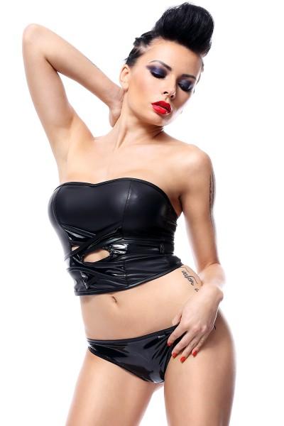 Frauen wetlook Dessous Set schwarz aus BH Top und String Tanga dehnbar matt mit Schnürung erotisches