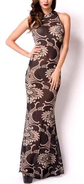 Schwarzes langes Abendkleid aus transparenten Stoff mit Hochgeschlossen Reißverschluss hinten Meerju