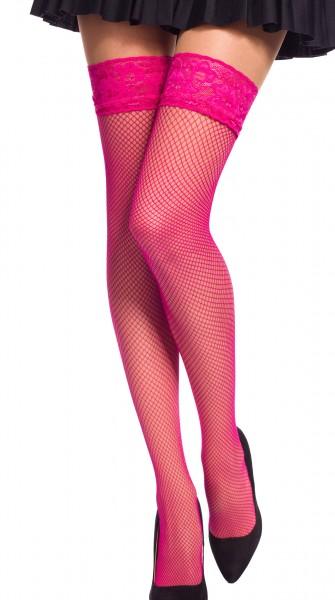 Damen Dessous halterlose Strümpfe aus Spitze in rosa Stockings mit Silikonstreifen und Spitze