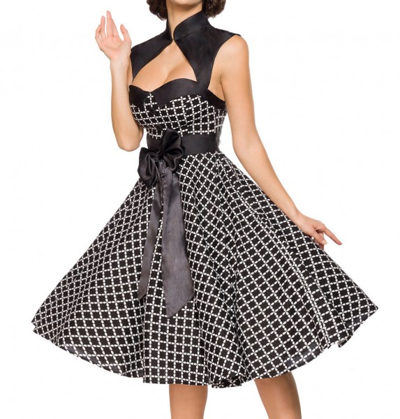 Ausgestelltes Rockabilly Kleid mit Stehkragen und Schleife Bolero Stoffknöpfe und Rückenausschnitt