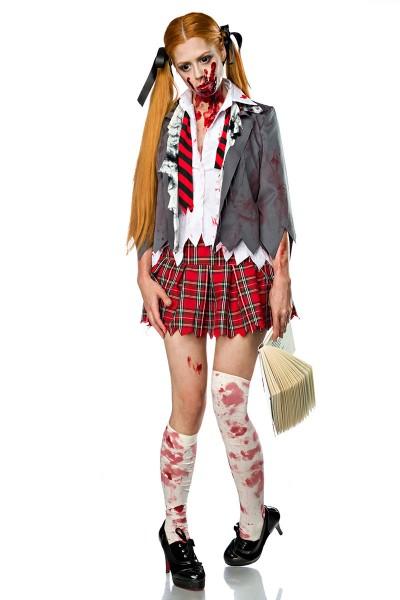 Damen Zombie Schoolgirl Schulmädchen Verkleidung Kostüm aus Bluse, Rock, Krawatte, Jacke, Stockings