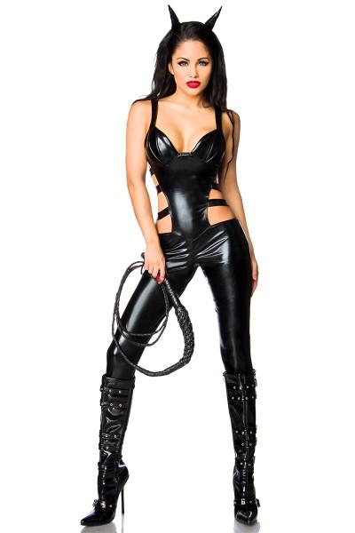 Schwarzes Damen Wetlook Teufel Kostüm Outfit Verkleidung sexy Teufel Overall glänzend