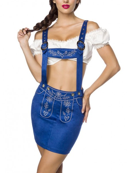 Blauer Damen Trachtenrock mit Hosenträgern und Stickereien Velourlsederoptik Bayrische Latzrock Lede