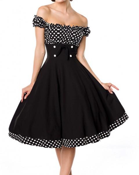 Kurzes Swing Kleid im tiefem Schnitt mit Teilungsnaht und Tellerrock weiß gepunktet und schulterfrei