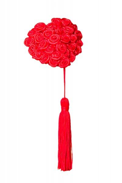 Rote Damen Nippel Patch mit Rosen klein verziert selbsthaftend Herzform mit Quaste 2x