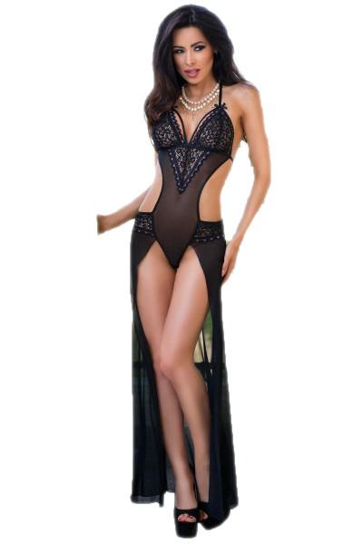 Dessous Body Gown in schwarz/pink erotisches langes Kleid mit Spitze und Verzierung transparent ouve