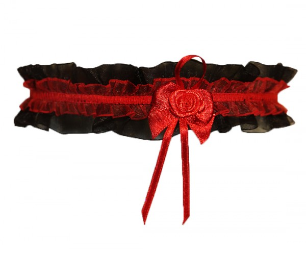 Schwarzes Dessous Strumpfband mit roter Rose Onesize