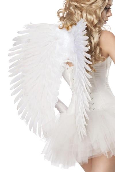 Weiße Damen Engels Flügel Gummibänder Flüge Dark Angel Verkleidung Fasching Kunstfedern