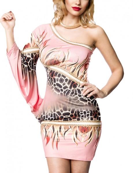 Kurzes rosa Sommerkleid mit einem Arm Strass und Tierdruck Muster asymmetrisch geschnitten