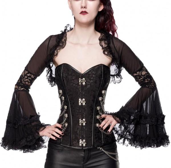 Schwarzer transparenter Spitzen Bolero mit Rüschen Tüll und Trompetenärmeln Gothic