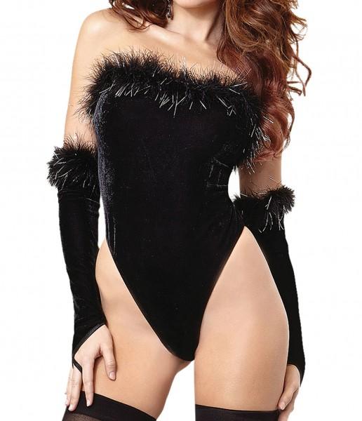 Schwarzer Samt Body elastisch mit Handschuhe Damen Dessous Body mit Fdern OneSize S/M