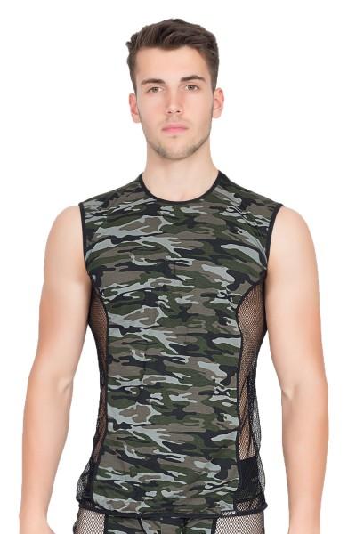 Herren Dessous camouflage V-Shirt Military Tarn-Shirt mit Netzeinsätzen grün schwarz ohne Ärmel