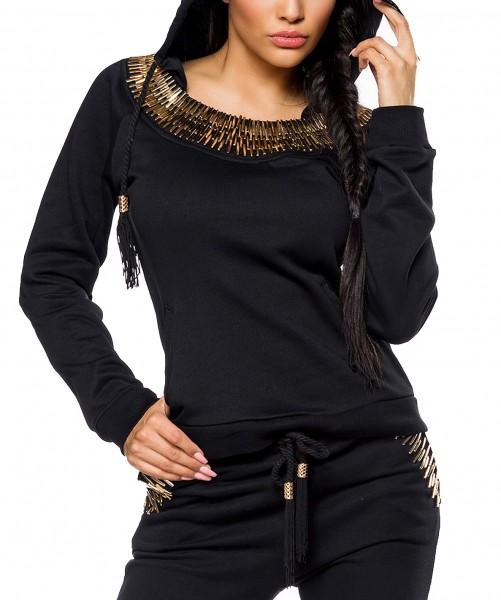 Schwarzer Damen Hoodie mit goldenen Stäbchen am Hals Raglan-Ärmel und Paspeltaschen Kapuzenpullover