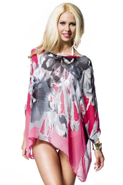 Luftige Sommer Tunika Strandtuch mit Musterung in pink Größe S-L