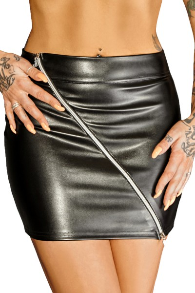 Schwarzer Minirock aus Leder-Imitat mit Reißverschluss wetlook Rock kurz Damen