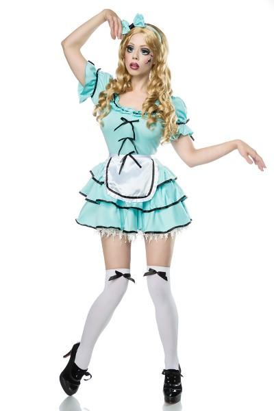 Damen Halloween Horror Geister Puppen Verkleidung aus Perücke, Kleid, Schürze, Harreif, Stockings On