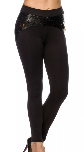 Schwarze Damen Leggings mit goldenen Reißverschlüssen und Einsätze in Kunstlederoptik enge Stoffhose