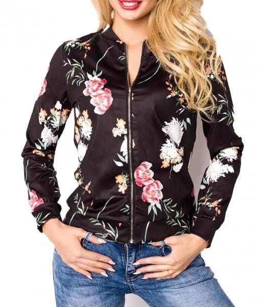 Schwarze kurze Damen Blouson Jacke mit langen Ärmeln und Blumenmuster Metallreißverschluss vorn