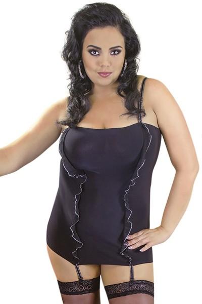 Schwarzes Strapskleid mit Strumpfhaltern blickdicht elastisch Damen Dessous Kleid Chemise
