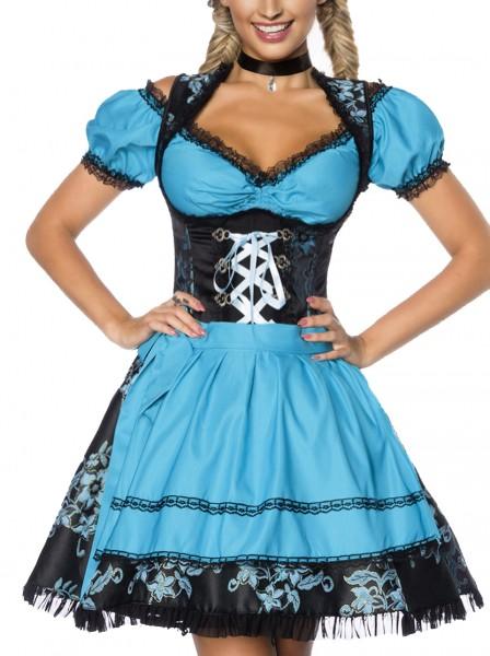 Dirndl Kleid Kostüm mit Schürze und Bluse Minidirndl mit Spitze Jacquard und ausgestelltem Rockteil