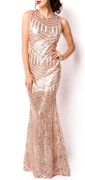 Goldenes langes Abendkleid aus Pailletten glänzend mit Hochgeschlossen Reißverschluss hinten Meerjun