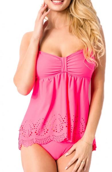 Elastischer Damen Bikini Neckholder Swimsuit mit Lochspitze Muster pink zum binden