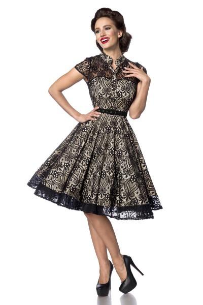 Schwarz creme farbenes knielanges Swing Kleid im High Waist Schnitt mit Spitze und Stehkragen Vollgl