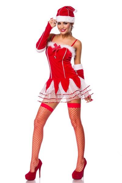 Damen Dessous Weihnachts Girl Elfen Set kurz mit Glöckchen aus Kleid, Armstulpen, Mütze, Netzstrümpf