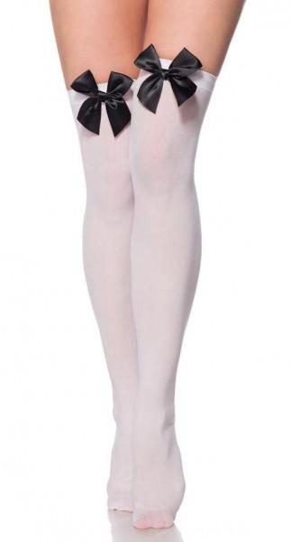 Halterlose weiße Strümpfe mit großer Satinschleife aus weichen dehnbaren Material Stockings XS-M