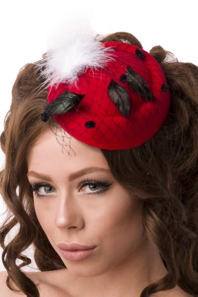 Rot Weißer Damen Minihut Filzhut Trachtenhut mit Netz und Federn Abendmode Verkleidung Fascinator